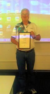 Gordon and his award at a PCUG training session